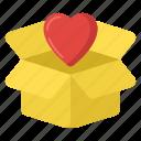 heart box, love box, love carton, love gift, love parcel icon