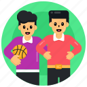 sports boys, sportsmen, playing basketball, playing ball game, friends game