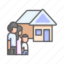 family, family home, happy, house, life, move out, together icon