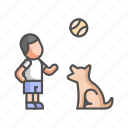 child, dog, family, family pet, friendship, playing, puppy icon