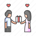 couple, gift, give gift, love, present, relationship, surprise icon