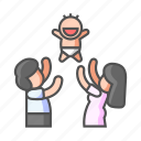 baby, family, happiness, have baby, infant, parent, together icon