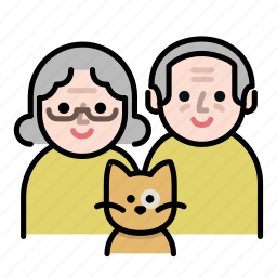 cat, couple, family, grandparents, old, old couple, senior icon