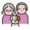 couple, dog, family, grandparents, old, oldcouple, senior icon