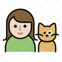 cat, cat lover, family, human, pet, user, woman icon