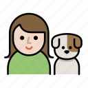 dog, dog lover, family, girl, human, pet, woman icon