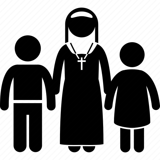 adopt, adoption, church, home, nun, orphan, orphanage icon