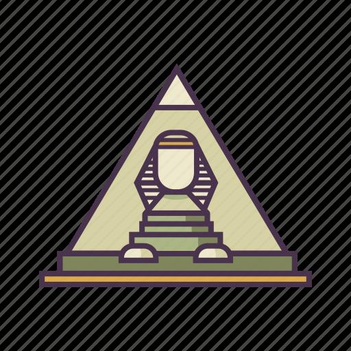 ancient, egypt, great sphinx of giza, landmark, pyramid icon