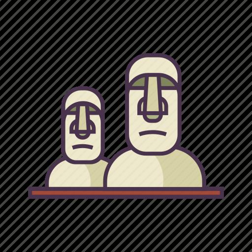 culture, landmark, moai, monument, statue, travel icon