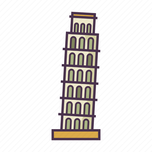 architecture, italy, landmark, leaning tower of pisa icon