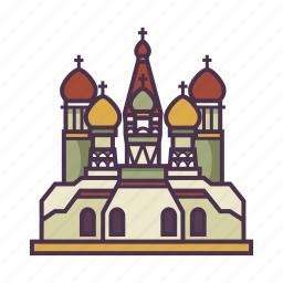 architecture, church, landmark, russia, st. basil's carthedral icon