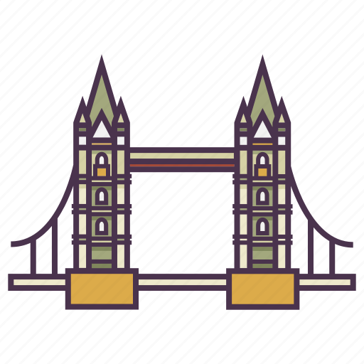 architecture, landmark, tourist, tower bridge icon