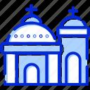 church, blue domed, santorini, greece icon