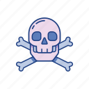 crossbones, danger, death, pirate, poison, skeleton, skull icon