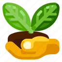 farm, food, hand, leaf, nature, organic, plant icon