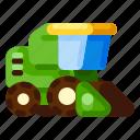 farm, harvester, machine, nature, plant, vehicle icon