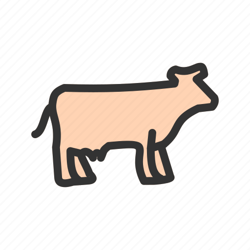 cows, farm, field, grass, landscape, milk, rural icon