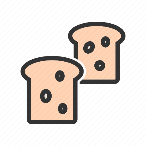 bread, breakfast, food, grain, loaf, slice, wheat icon
