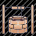 bucket, round, stone, water, waterround, well