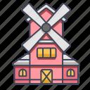building, farm, house, housewindmill, wind, windmill