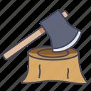 ax, axe, cut, tool, wood
