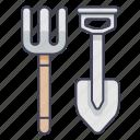 agriculture, farm, garden, pitchfork, shovel, tool