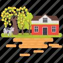 farm, farm field, farm illustration, farm landscape, farmhouse, farmland, farmyard icon