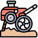 agriculture, cultivator, farming, plowing, tractor icon