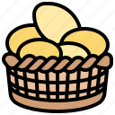 basket, eggs, farm, food, fresh icon