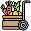 cart, farm, harvest, product, vegetable