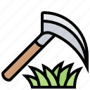 cut, harvest, scythe, sickle, tools icon