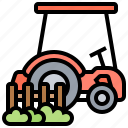 agriculture, farm, plowing, tractor, truck icon