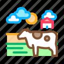 barn, cow, farming, field, landscape, spotted, village