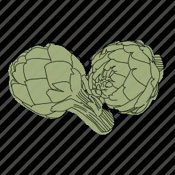 artichoke, color, food, hand drawn, recipe, restaurant, vegetable icon