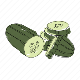 color, cucumbers, food, hand drawn, organic, salad, vegetable icon