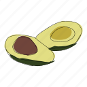 avocado, color, food, guacamole, hand drawn, recipe, vegetable icon