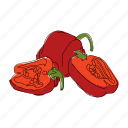 color, food, hand drawn, peppers, red peppers, spicy, vegetable icon