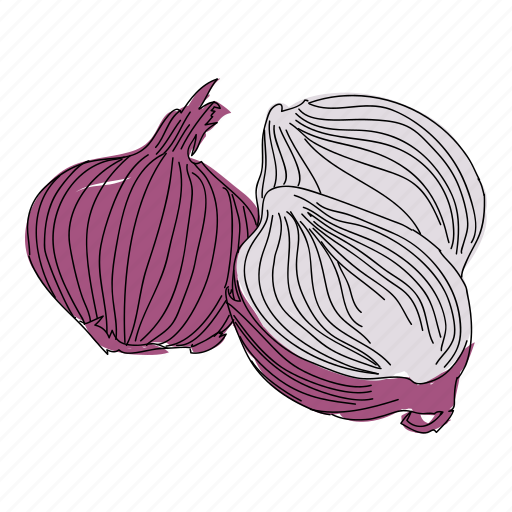 color, food, hand drawn, onion, red onions, vegetable, veggies icon