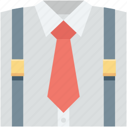 collar shirt, dress shirt, formal shirt, full sleeves, shirt with tie icon