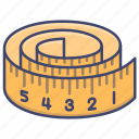 band, tape, measure, measuring icon