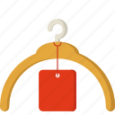 fashion, hanger, price, sale, shopping, sticker icon