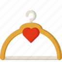 fashion, hanger, heart, like, price, sticker icon