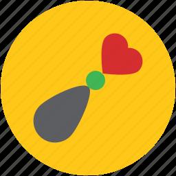 artificial flower, heart, heart stick, valentine gift icon