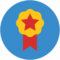 award badge, badge, emblem, ribbon badge, star sign icon
