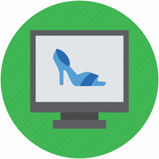 ladies sandal, laptop, laptop screen, online shopping, online shopping concept icon