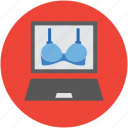 ladies bra, laptop, laptop screen, online shopping, online shopping concept icon