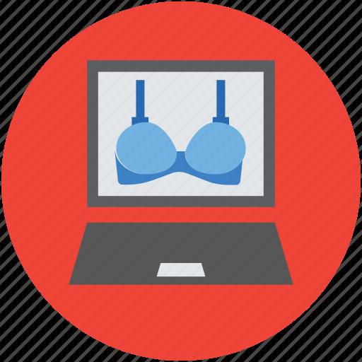 ladies bra, laptop, laptop screen, online shopping, online shopping concept icon