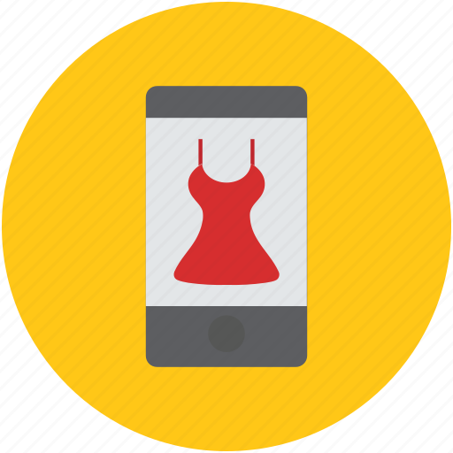 ladies dress, mobile screen, online shopping, online shopping concept, smartphone icon