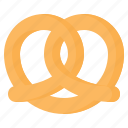 baked, bread, cookie, food, pretzel, salty, snack icon