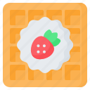 bakery, breakfast, dessert, fast, food, strawberry, waffle icon